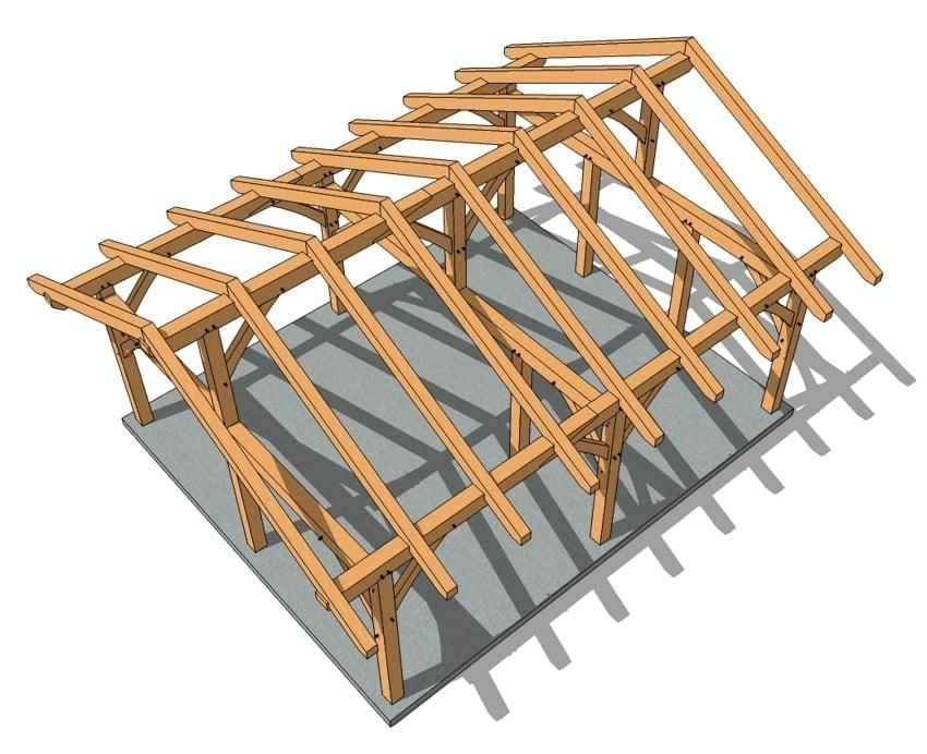 20x24 King Post Timber Frame tOP