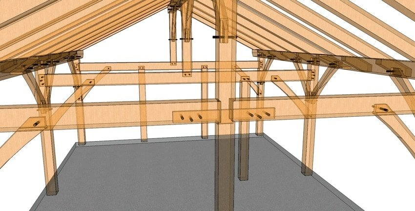 20x24 King Post Timber Frame Ghost