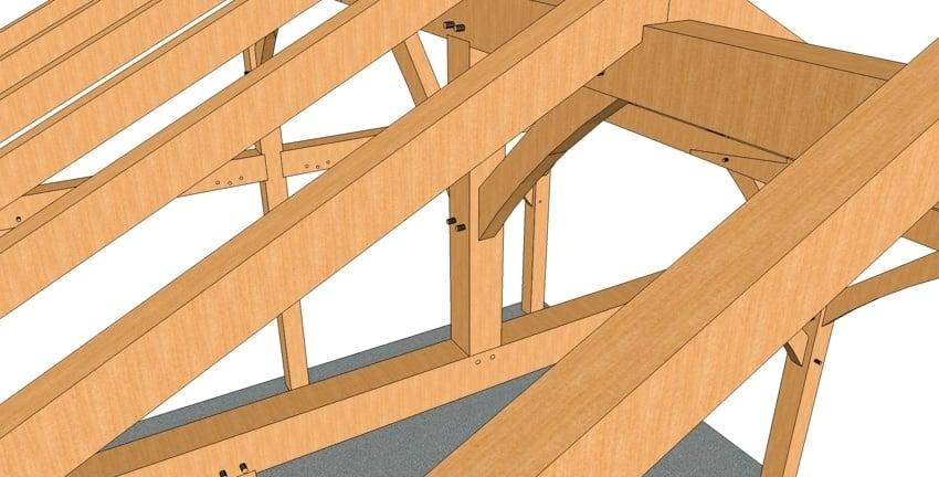 20x24 King Post Timber Frame Closeup