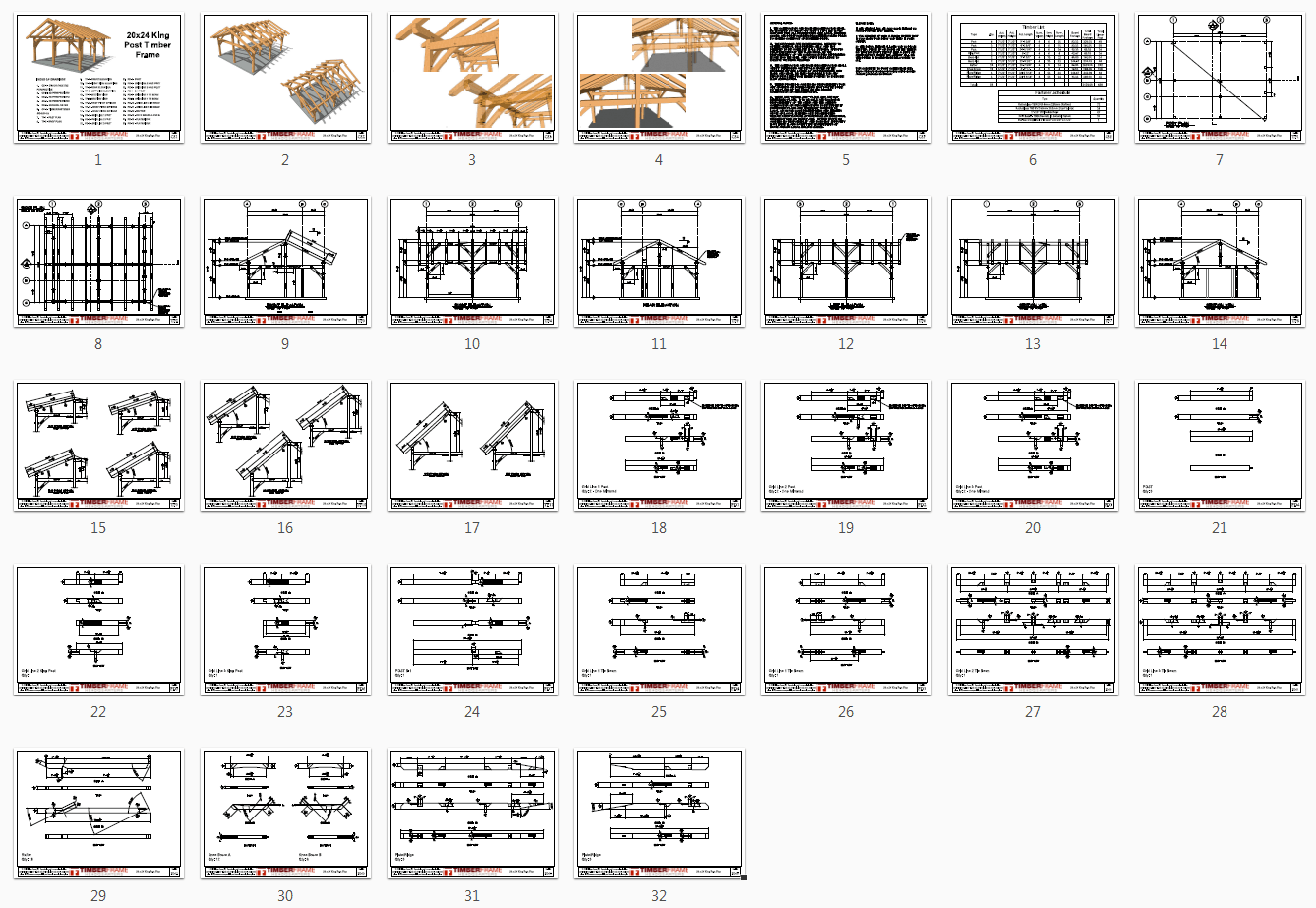 20x24 King Post Plan Overview