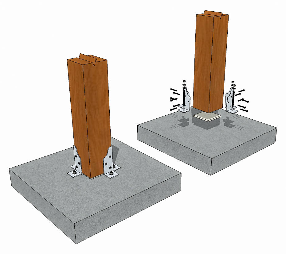 Steel Corner Post Base With Attachment Wings - Timber Frame HQ on metal post, house post, single post, street post, kitchen post,