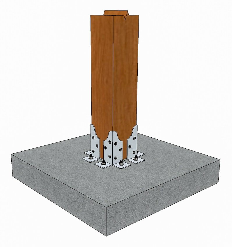 Single steel corner post base