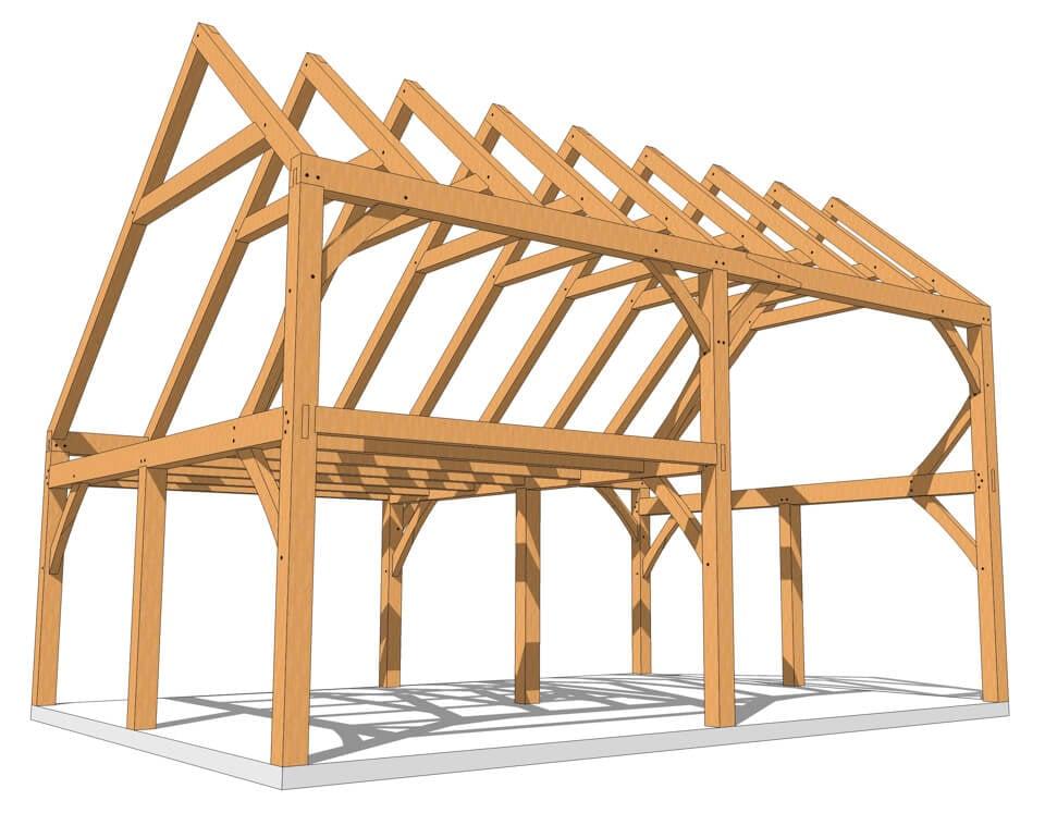 28x20 Saltbox Timber Frame Plan