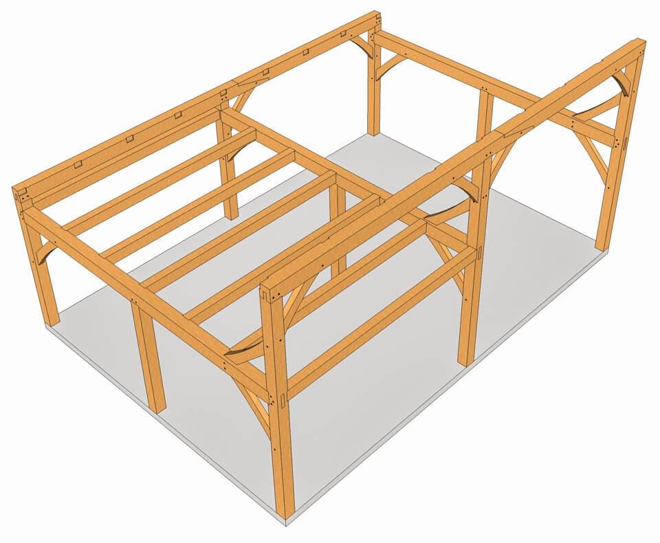 28x20 Timber Frame Saltbox Loft Framing