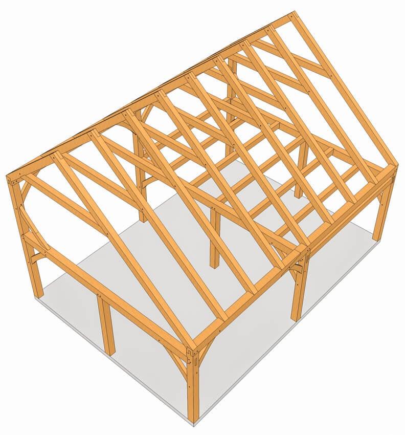 28x20 Saltbox Plan Timber Frame Hq