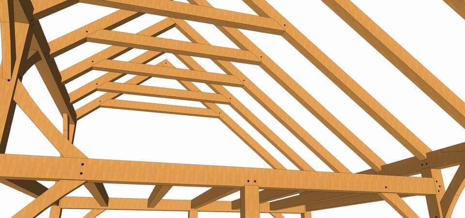 28x20 Timber Frame Saltbox Ridge Closeup View