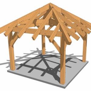 12x12 Gazebo Plan Oblique View Wood Tones