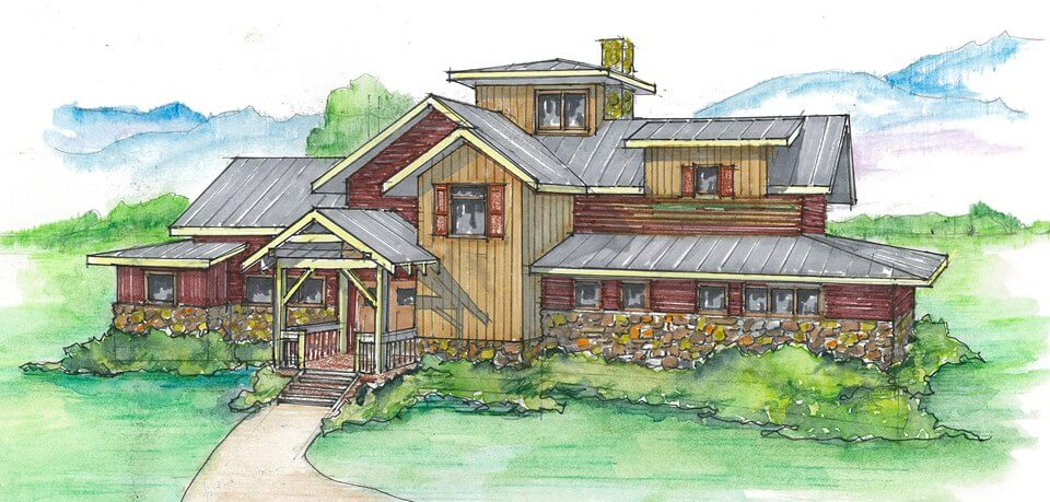 The West Fork Timber Frame Home Color Rendering