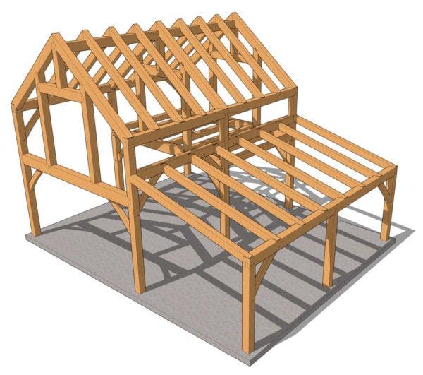 30x24 Timber Frame Cabin Plan Isometric