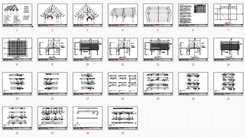 16x24 pavilion with purlins monochrome overview