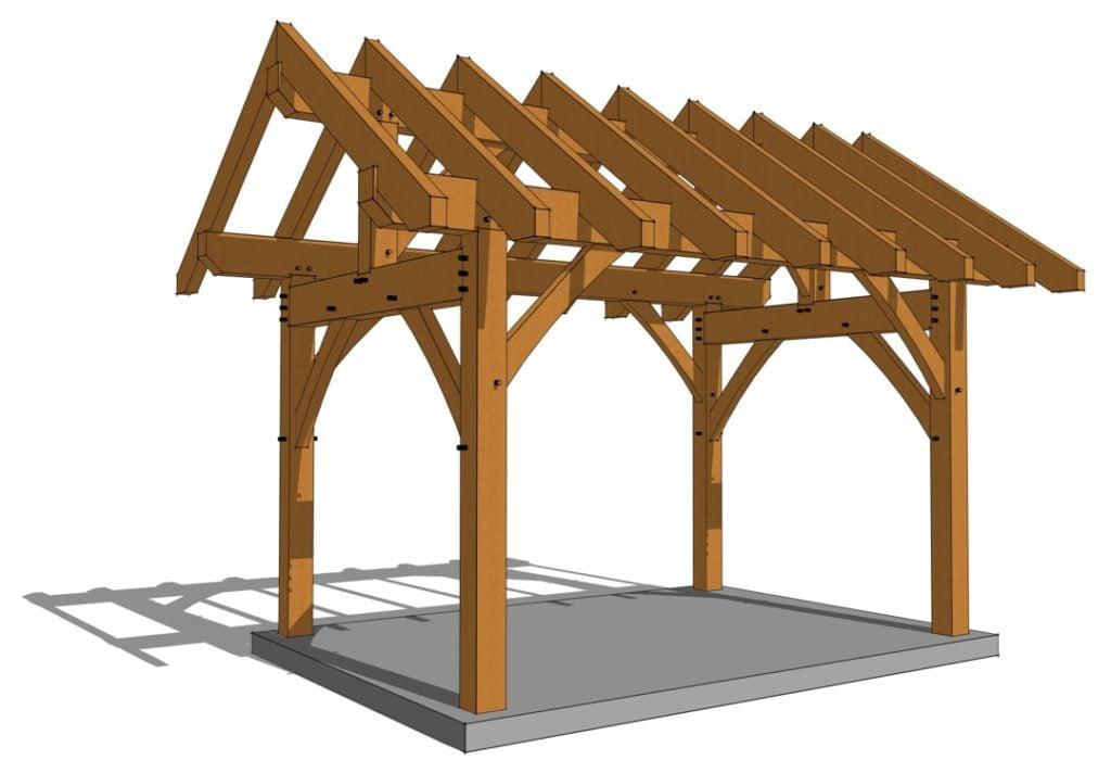 10x14 King Post Pavilion Side Angle