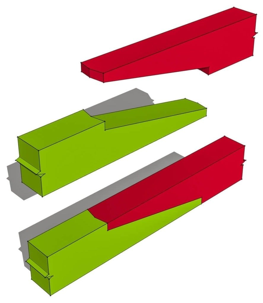 Stop-Splayed Scarf Joint with Sallied Abutments