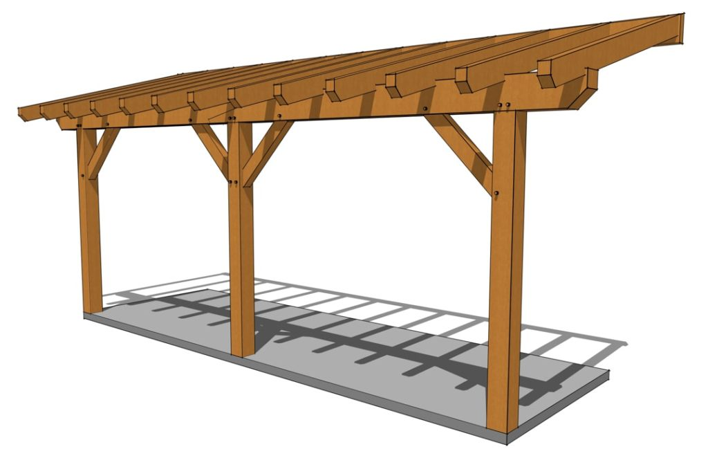 Timber Frame Porch Plan Front