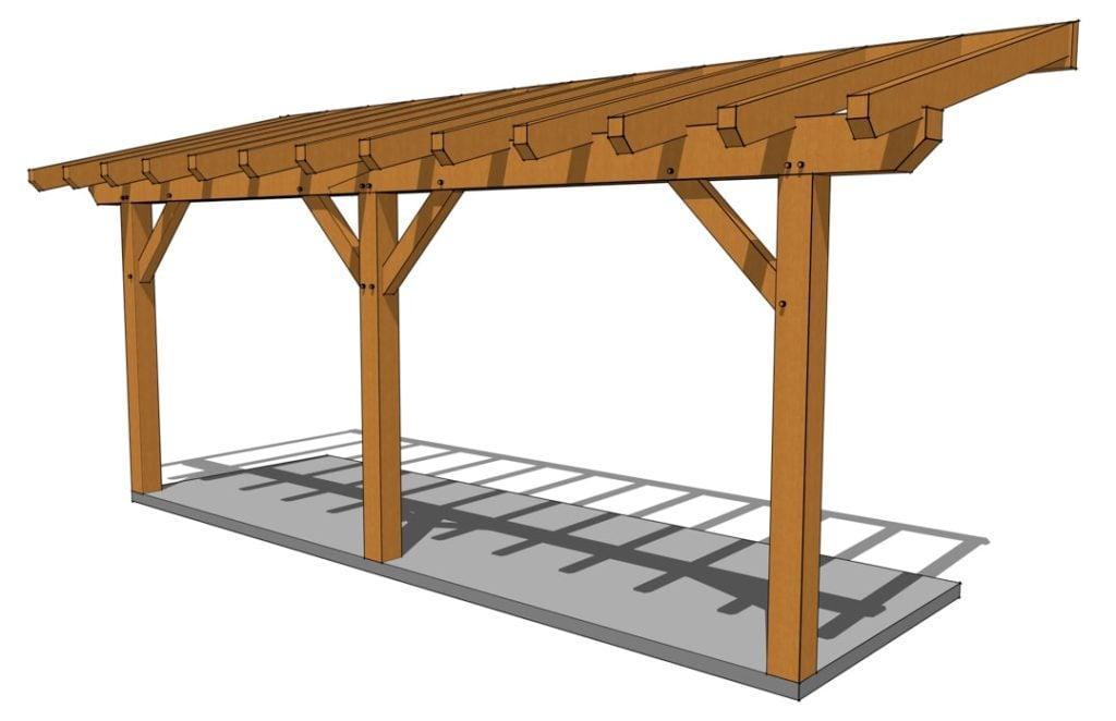 Timber Frame Porch Plan Front
