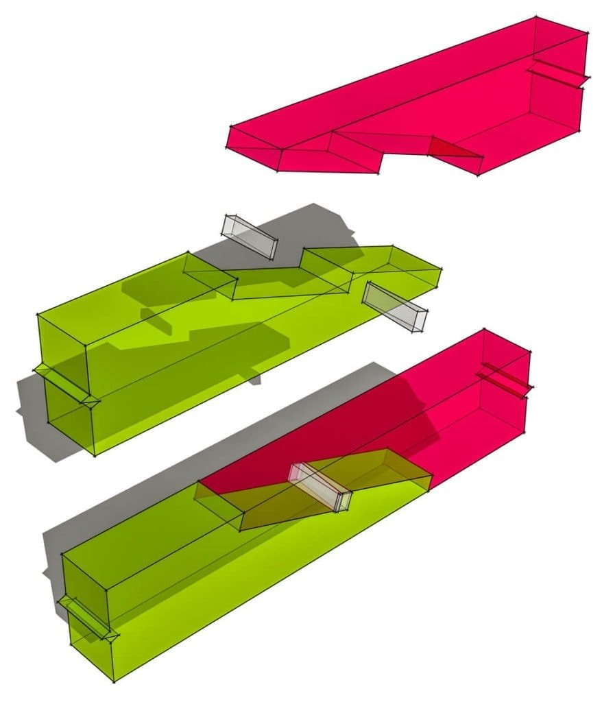 Under Squinted Stop Splayed Scarf Joint With Table and Wedge  Rendered Transparent