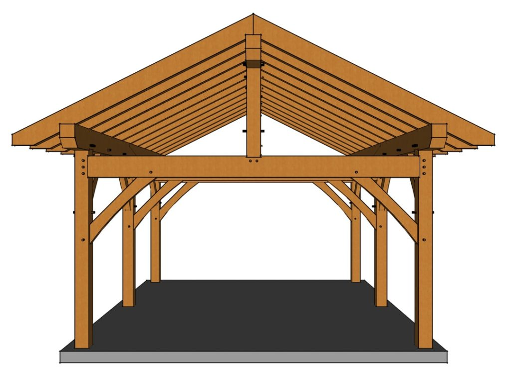 16x20 Heavy Timber Pavilion Front View