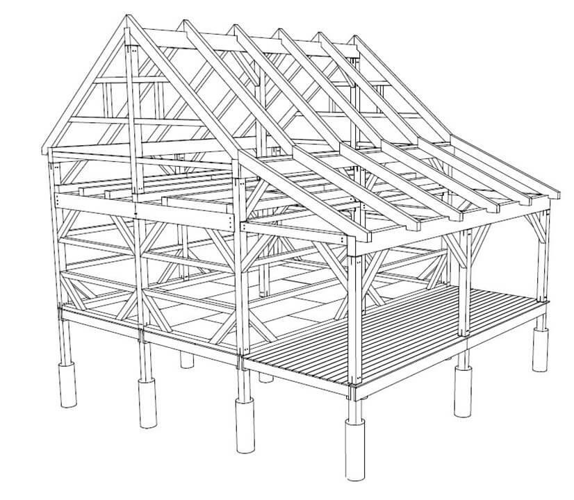 18x22 T-Rex Outbuilding Frame 3D