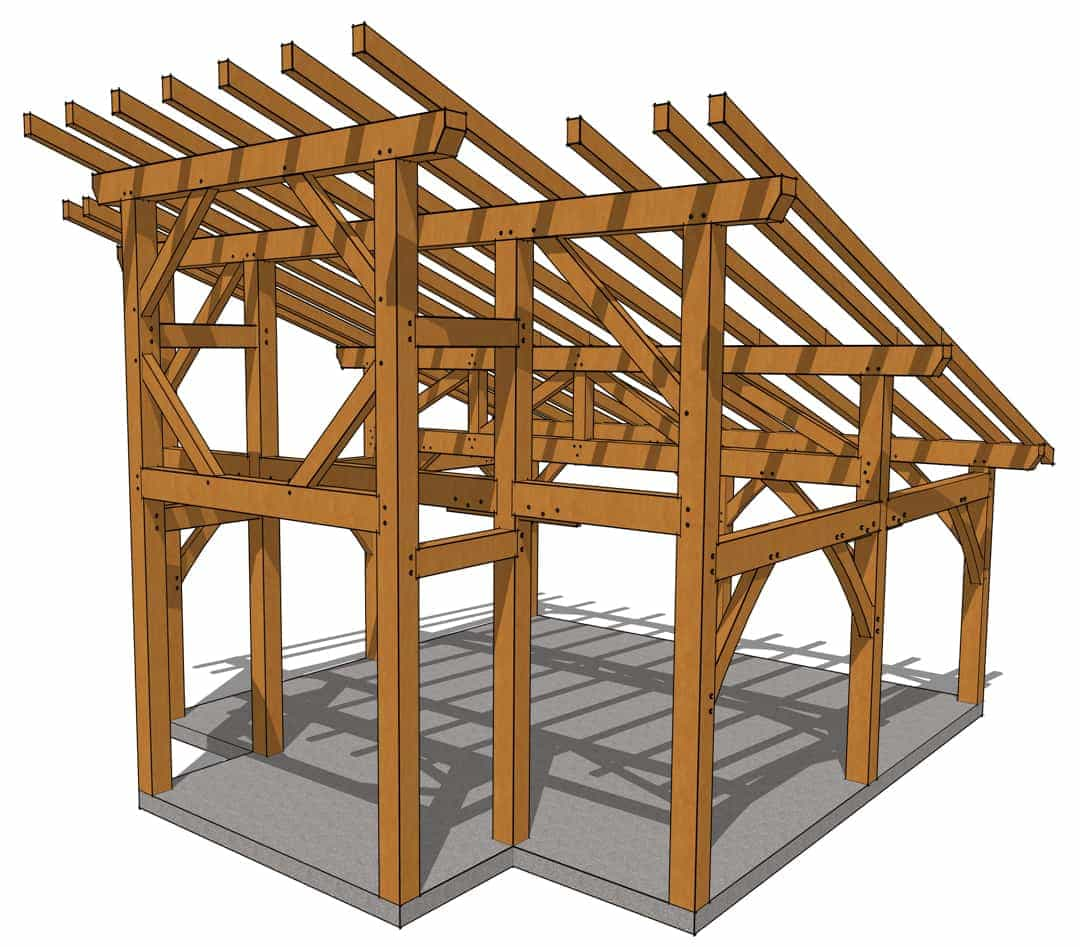20x20 Foot Timber Frame Lean To Shed