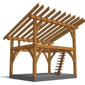 12x16 Tiny Timber Frame Plan