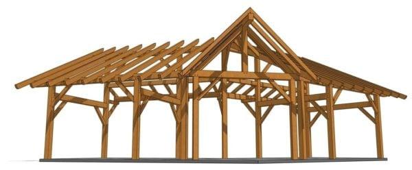 14x28 Winged Shed Pavilion - Dormer Face