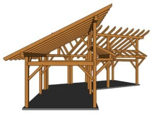 14x28 Winged Shed Pavilion Side View