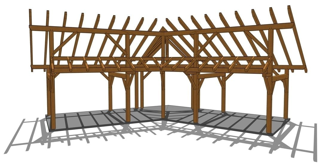 14x28 Winged Shed Pavilion - Awning Face