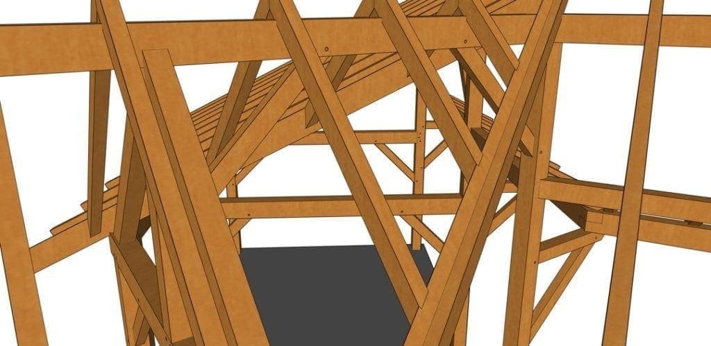 14x28 Winged Shed Pavilion Closeup
