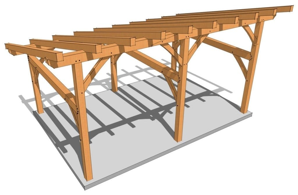 16×24 Timber Frame Shed Roof Birdseye Rendering