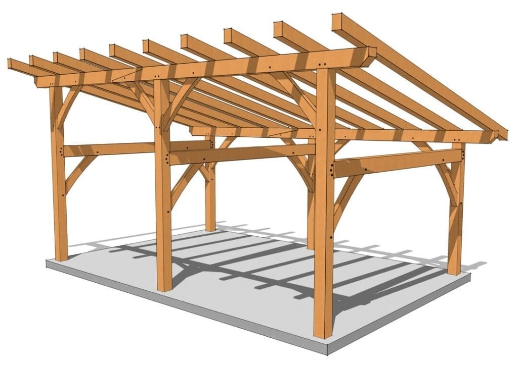 16×24 Timber Frame Shed Roof Rendering