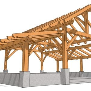 32x28 King Post Barn Rendering