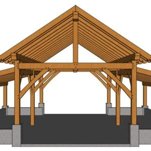 32x28 King Post Barn Front View