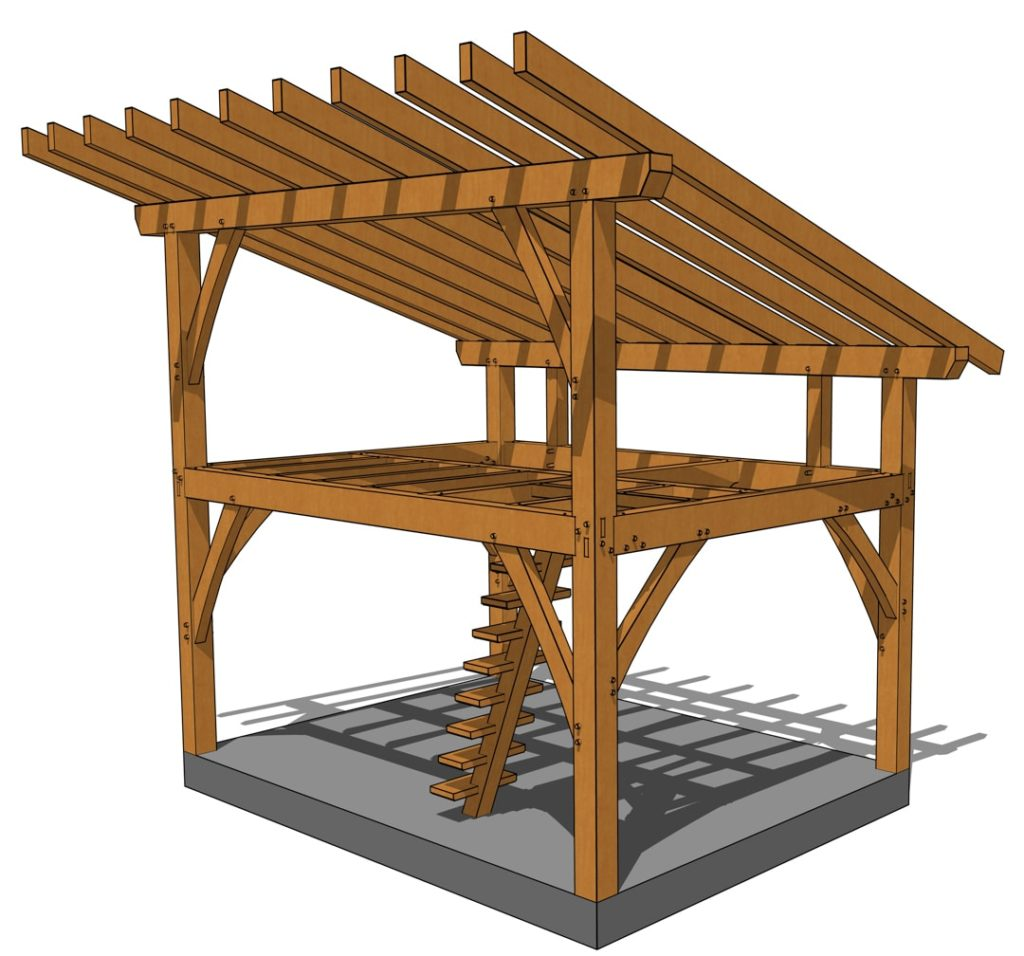 12x16 Tiny Timber Frame Plan with Loft