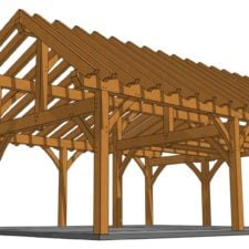26x30 Timber Frame Workshop Rendering