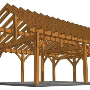 26x30 Timber Frame Workshop Rendering