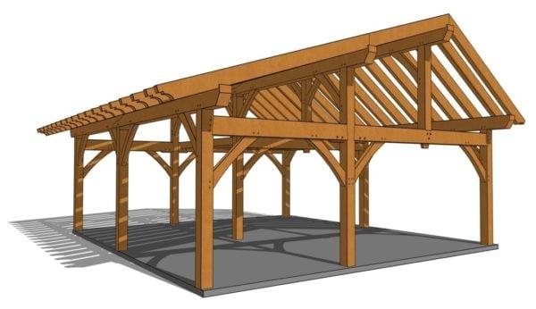 26x30 Timber Frame Workshop Side Rendering