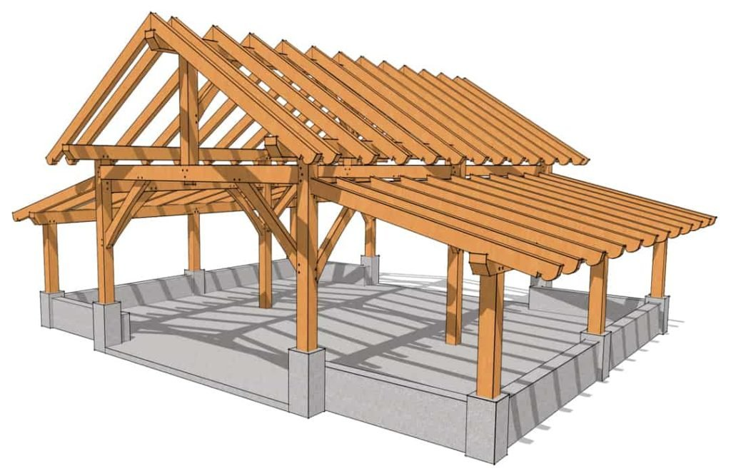 32x28 King Post Barn Light Rendering