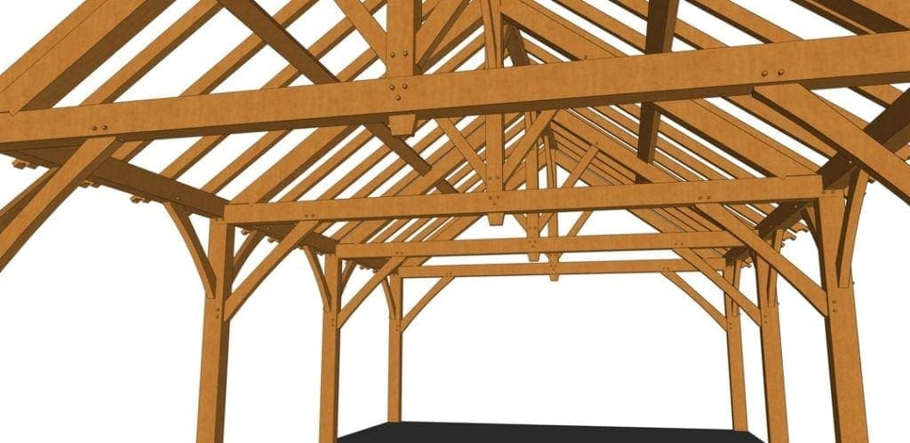 24x36 King Post Truss Pavilion Truss Closeup