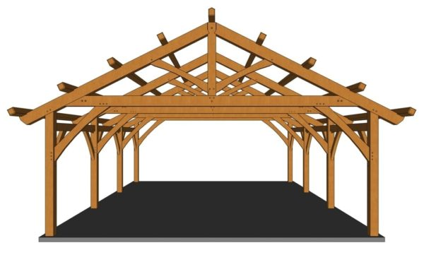 26x36 Timber Frame Carport Front View