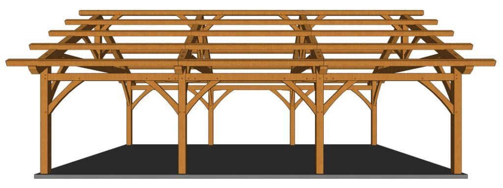 26x36 Timber Frame Carport Side View