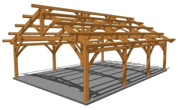 26x36 Timber Frame Carport Eye Level View