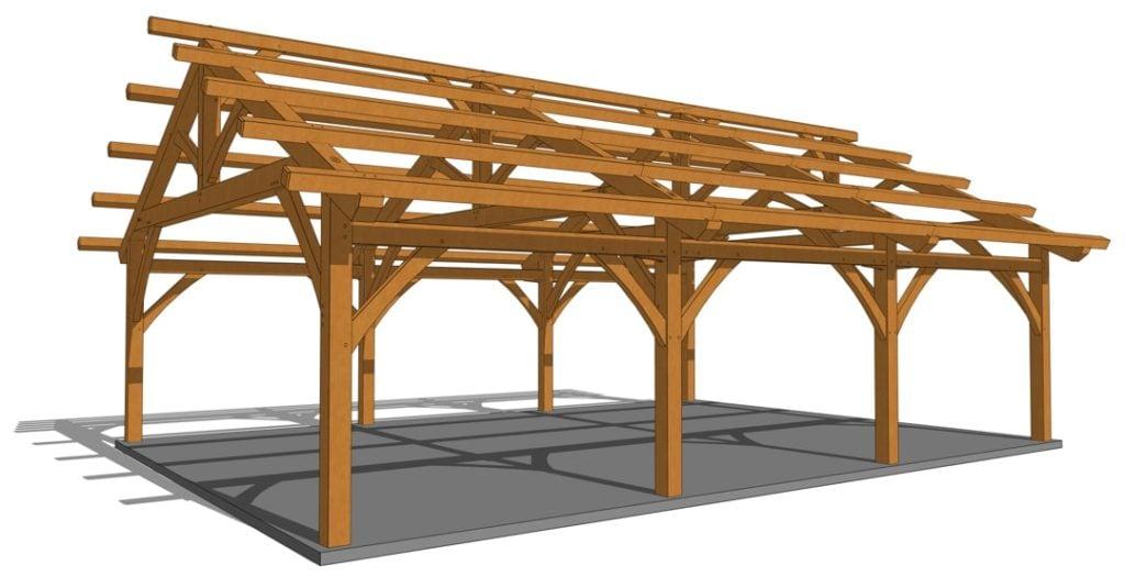 26x36 Timber Frame Carport Rendering