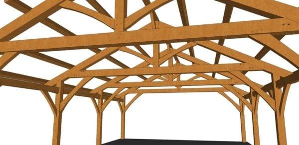 26x36 Timber Frame Carport Closeup Trusses