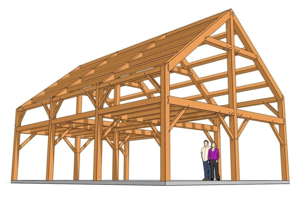 24x36 Timber Frame Barn House Plan Axonometric