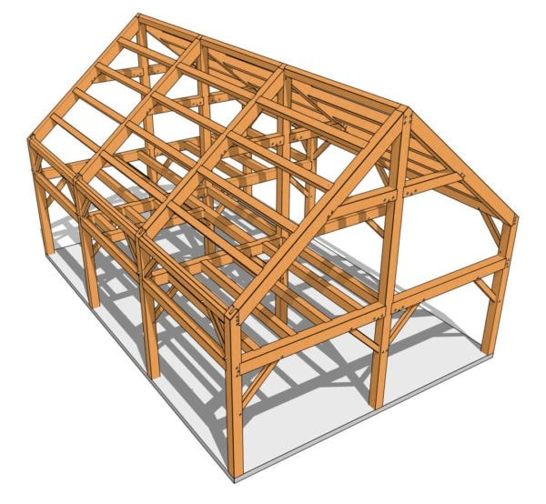24x36 Timber Frame Barn House Plan 3D View