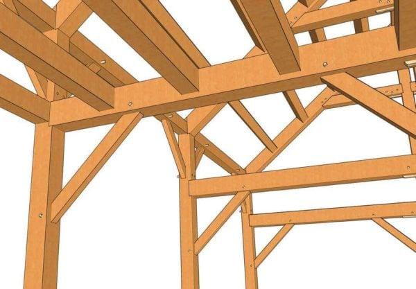 24x36 Timber Frame Barn House Plan Closeup