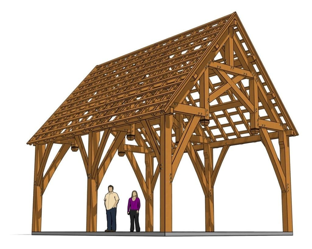 18x24 Hammer Beam Truss Plan - (41292)