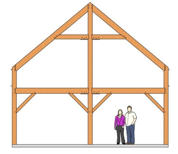 24x36 Timber Frame Barn House Plan Elevation