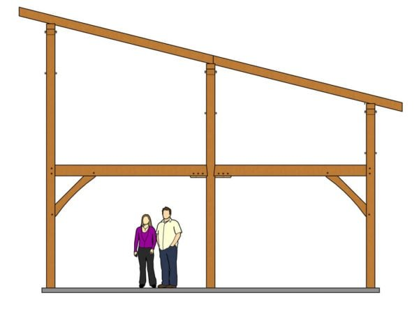 24x24 Shed Roof Plan with Loft Side View