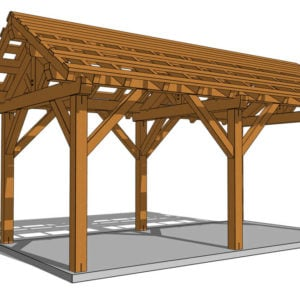 12x24 Post and Beam Pavilion Rendering