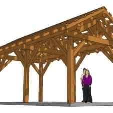 12x24 Post and Beam Pavilion 3D